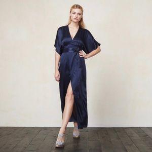 Reformation Elle Silk Maxi Dress Navy Blue Sz 8